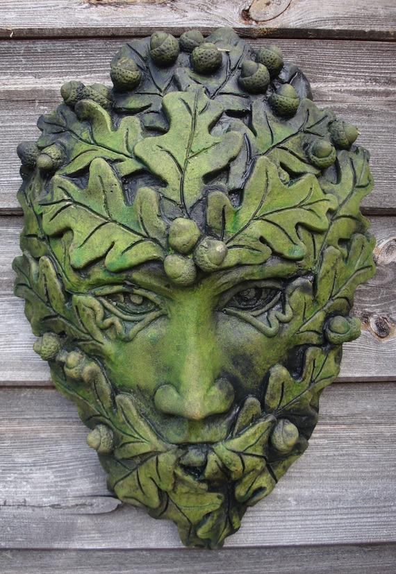 Greenman Garden Wall Plaque H ornament Water /& Frostproof Handmade PAGAN WICCAN