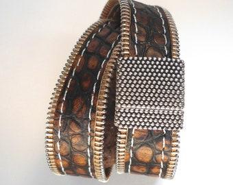 Double wrap stitched leather bracelet : ZIPPLEA