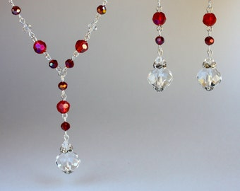 2-piece set, red Swarovski crystals vintage silver chain drop necklace long drop earrings set, wedding party bridesmaid gift jewelry set