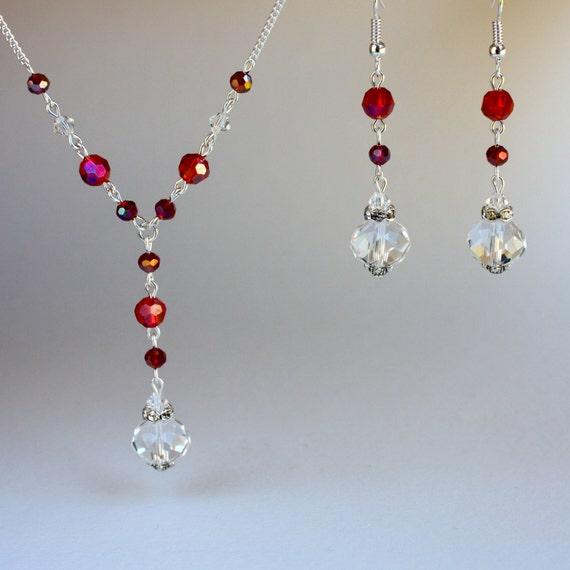 Dark red pearls crystals vintage silver drop dangle wedding bridesmaid earrings