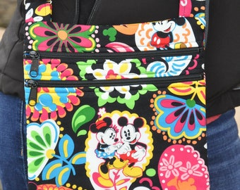 80c1a0405f3 Disney Mickey   Minnie Black Fabric Quilted Cross Body Messenger Bag - Tote  - Shoulder Bag