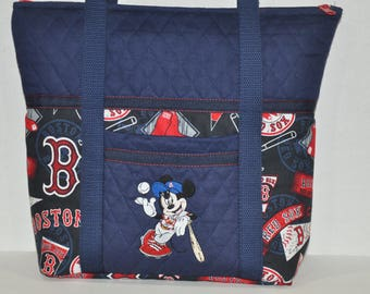44ab6f10b Navy Blue * Boston Red Sox * Mickey Mouse Embroidered * Pre Quilted Fabric  Embroidered Shoulder Bag, Tote Bag, Handbag