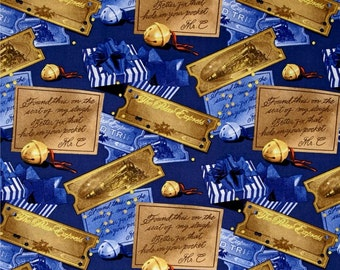 In Stock! Polar Express Ticket & Bell Toss Blue 100% Cotton Quilt Fabric by Camelot