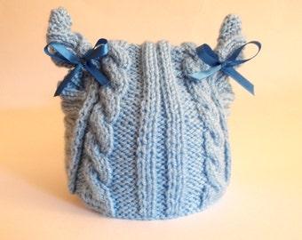 Baby Hat, Toddler Hats, Kitten Hat, Kids Knit Hats, Cat Hat, Ear Flap Kitten Hat, Hat with Cat Ears, photo prop hat , blue hat , blue bow