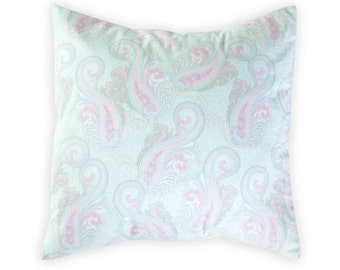 Blue paisley pillow cover - Pink paisley pillow cover