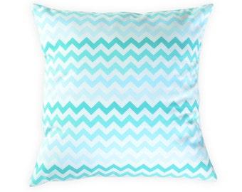 Blue chevron pillow cover - Blue aqua throw pillow