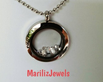 Magnetic locket with tourmalines,brilliant cut,sparkle like diamonds