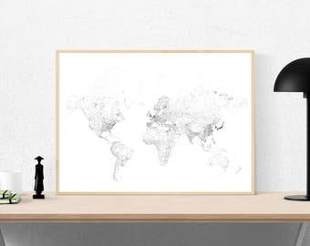World map print, World wall map, World print, World map poster, World map, Black and White print, the earth, large poster, planet print