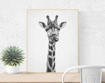 Giraffe Print, Printable Art, Nursery Print, Black and White Nursery Decor, Nursery Animal Wall Art, Kids Printable Art, Safari Animal Print