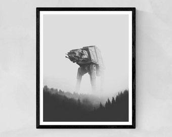 Alien poster, Aliens print, black and white print, robotic print, robots display, fantastic print, black and white print, Star Wars