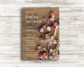 Paper Rustic Floral Bridal Shower Invitations with Envelopes