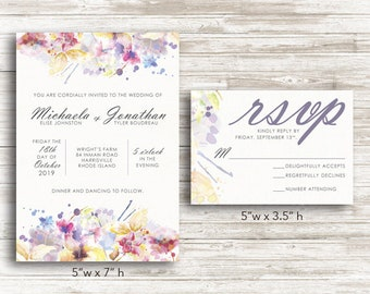 Printable Floral Watercolor Wedding Invitation & RSVP Card