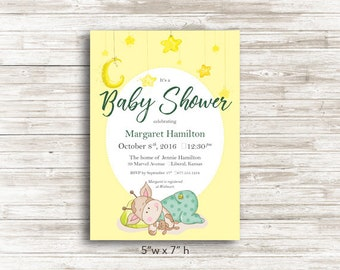 Printable Sleeping Giraffe Baby Shower Invitation