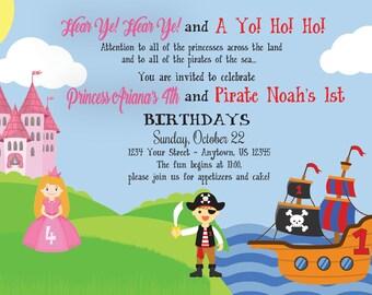Princess & Pirate Birthday Invitation