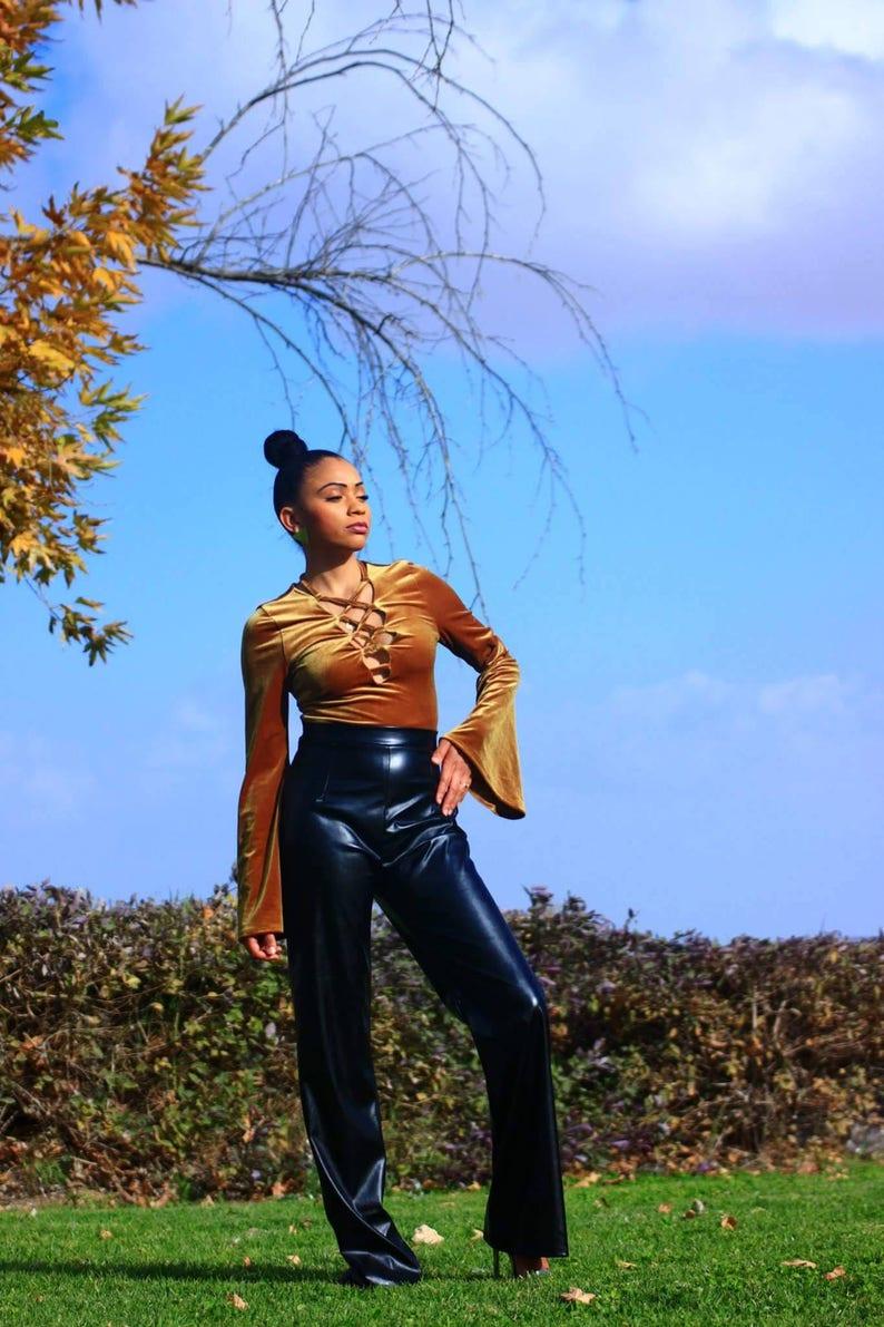 Gold velvet body suit
