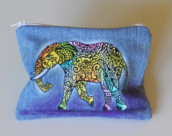 Zentangle Elephant Pouch, Painted Pouch, Colorful purse, Cosmetic Bag