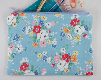 Handmade Cath Kidston print zippered pouch, knitting and sewing notions, make up bag, floral