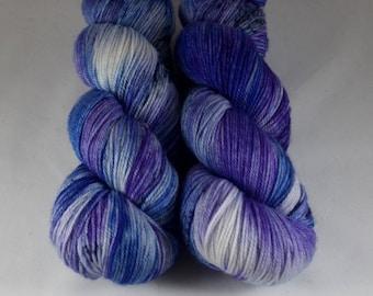Cashmere Blend Sock Yarn, hand dyed wool, variegated sock yarn, nylon sock yarn, blue, purple, navy, speckled