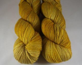 Cashmere Blend Sock Yarn, hand dyed wool, variegated sock yarn, nylon sock yarn, yellow, gold
