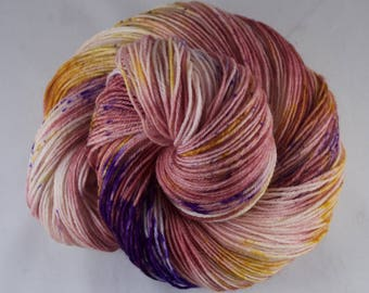 Hand Dyed Sock Yarn, hand dyed wool, variegated sock yarn, speckle sock yarn, nylon sock yarn, pink, purple, yellow