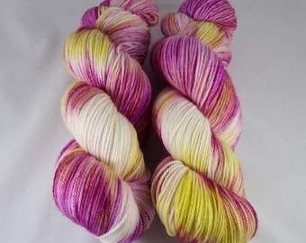 Cashmere Blend Sock Yarn, hand dyed wool, variegated sock yarn, nylon sock yarn, pink, yellow