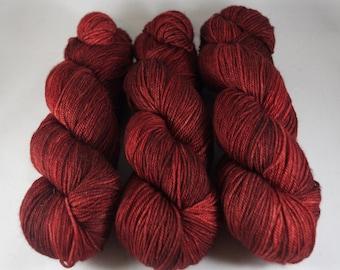 Cashmere Blend Sock Yarn, hand dyed wool, variegated sock yarn, nylon sock yarn, red, tonal
