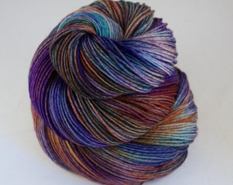 Hand Dyed Sock Yarn, hand dyed wool, variegated sock yarn, nylon sock yarn, purple, blue, orange