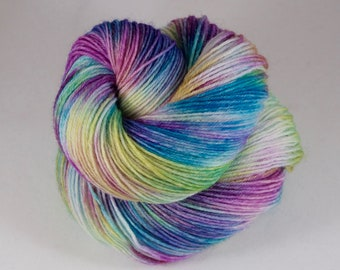 Hand Dyed Sock Yarn, hand dyed wool, variegated sock yarn, nylon sock yarn, pink, purple, green, blue, yellow,