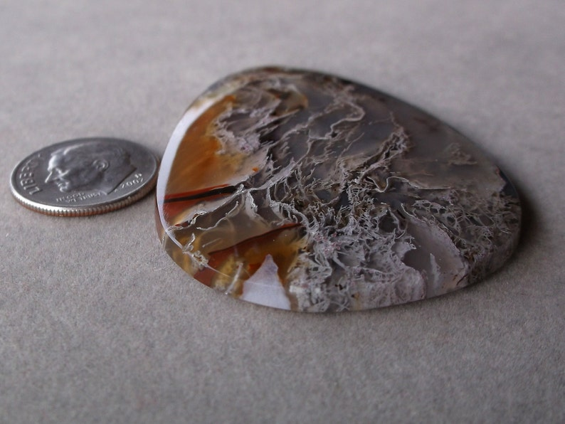 Fine Designer Open Delicate Lacey Moss Agate Pearshape Cabochon from Oregon