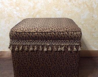 Square Ottoman, Animal Print, Tuffet, Cheetah Print, Cheetah Ottoman, Trim,  Furniture, Chenille, Luke Samuel Collection, One Of A Kind