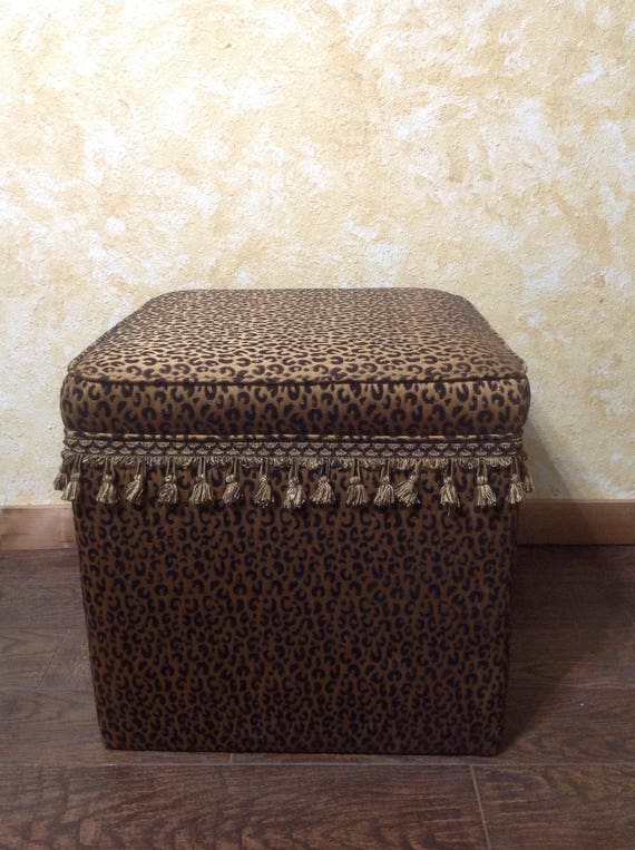 Wondrous Square Ottoman Animal Print Tuffet Cheetah Print Cheetah Ottoman Trim Furniture Chenille Luke Samuel Collection One Of A Kind Alphanode Cool Chair Designs And Ideas Alphanodeonline