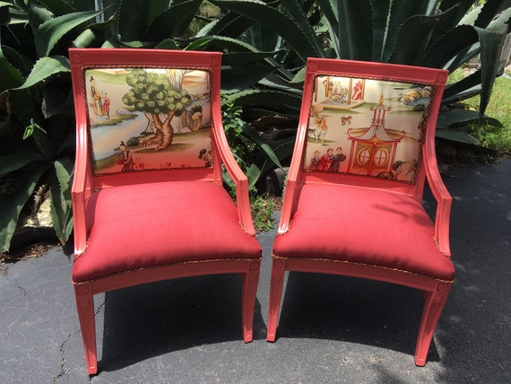 Miraculous Upcycled Coral Vintage Scalamadre Accent Chairs Coral Salmon Color Refurbish Chairs Stunning Plaid Chairs Custom Upholstered Chairs Short Links Chair Design For Home Short Linksinfo