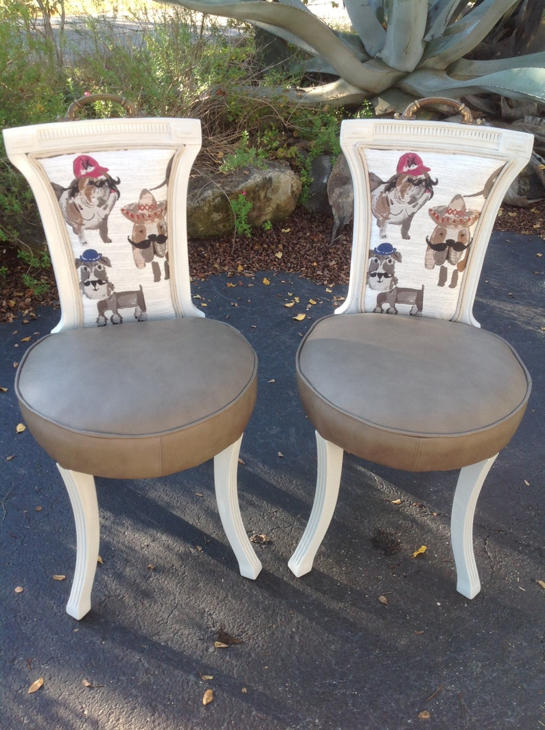 Accent Chairs Sold In Pairs.Accent Chairs Doggie Chairs Upscale Brass Handles Chalk Paint Leather Seating Gray Farmhouse