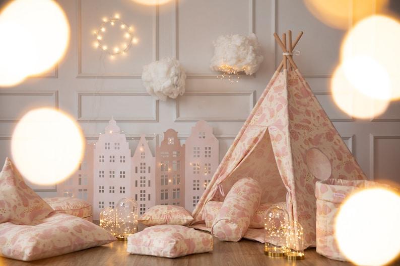 Perfect Christmas gift! Gold Hearts Star Pouf Beanbag Pouf Kids Sitting