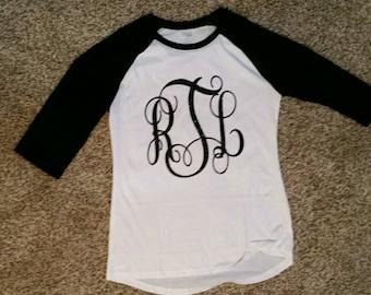 Baseball (Raglan) Monogramed shirt (baseball Shirt) Canvas + Bella
