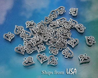 Heart Charms (50pc) Wholesale, Tibetan Silver Filigree Heart Charms in Bulk, Silver Heart Charms, Small Filigree Hearts, Heart Findings Bulk