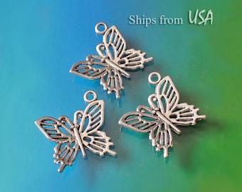 Butterfly Charms (10), Tibetan Silver Filigree Butterfly Charms, Small Butterfly Pendant, Insect Jewelry Findings, Butterfly Bracelet Charms