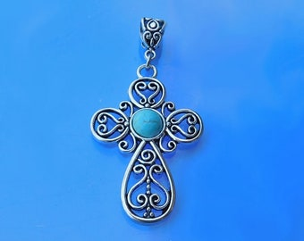 Filigree Cross Pendant with Turquoise, Blue Howlite Stone Cross, Christian Pendant, Ornate Turquoise Cross Pendant, Cross Pendant