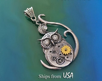 Steampunk Owl Pendant, Mixed Metals Big Owl Pendant, Owl with Gears and Rhinestones, Steampunk Style Jewelry, Owl Necklace