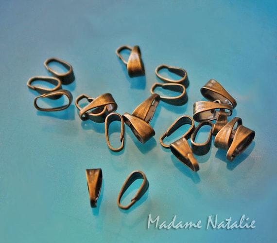 50pcs Silver Tone Brass Filigree Leaf Pinch Bails Rack Plating Findings 20x8mm