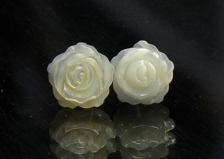 2e4cba3ba ... sterling silver stud earrings, mother of pearl shell earring carved as  rose, floral earrings. 1