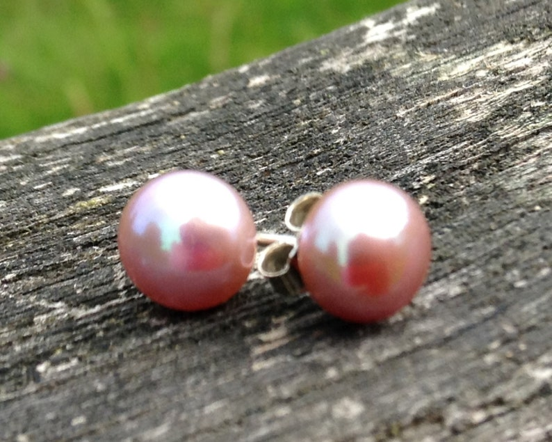 6.5mm freshwater pearl stud earrings on sterling silver