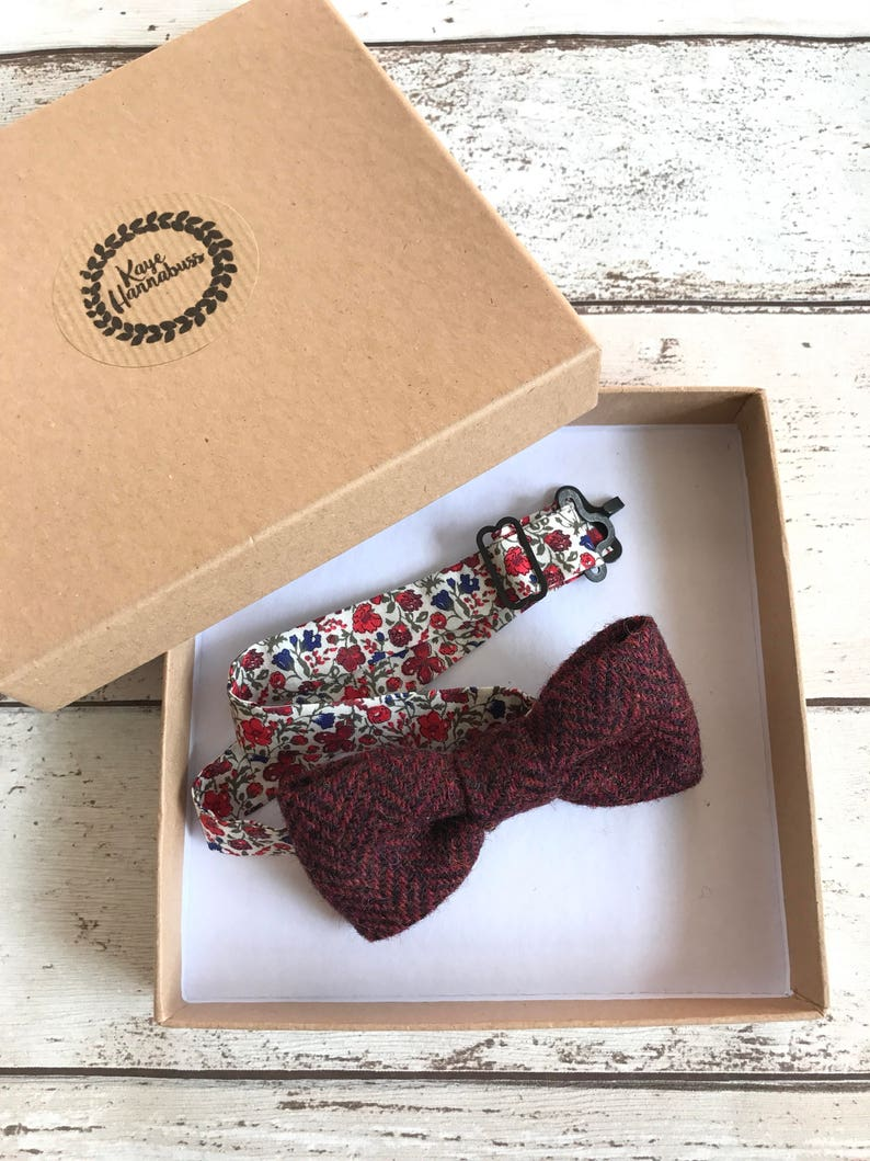 Mens Boys Herringbone Tweed Dickie Bow Tie /& Pocket Square Handkerchief Hanky
