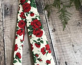 Liberty Print Tie, Rose Print Tie, Liberty Print Neck Tie, red floral Print Tie, Grooms Tie, Wedding Neck Tie, Best Man Tie, gift for dad