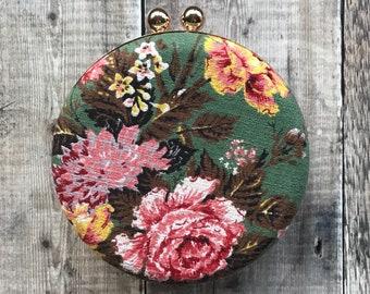 Bark Cloth Clutch Bag, round clutch bag, Rose Print Bag, Vintage Bag, Green bag, Brown Tweed Bag, vintage Rose Bag