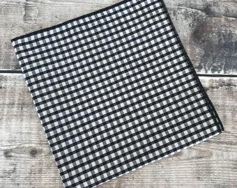 Gingham Pocket Square. Black and white Pocket Square, Wedding attire, Dapper Groom Accessory, Best Man Gift, Hipster