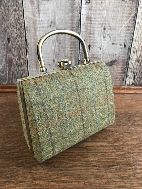 Tweed Box Clutch Bag, green check clutch, Tweed Bag, Country Accessory, Tweed Bag, Gold Clutch Bag