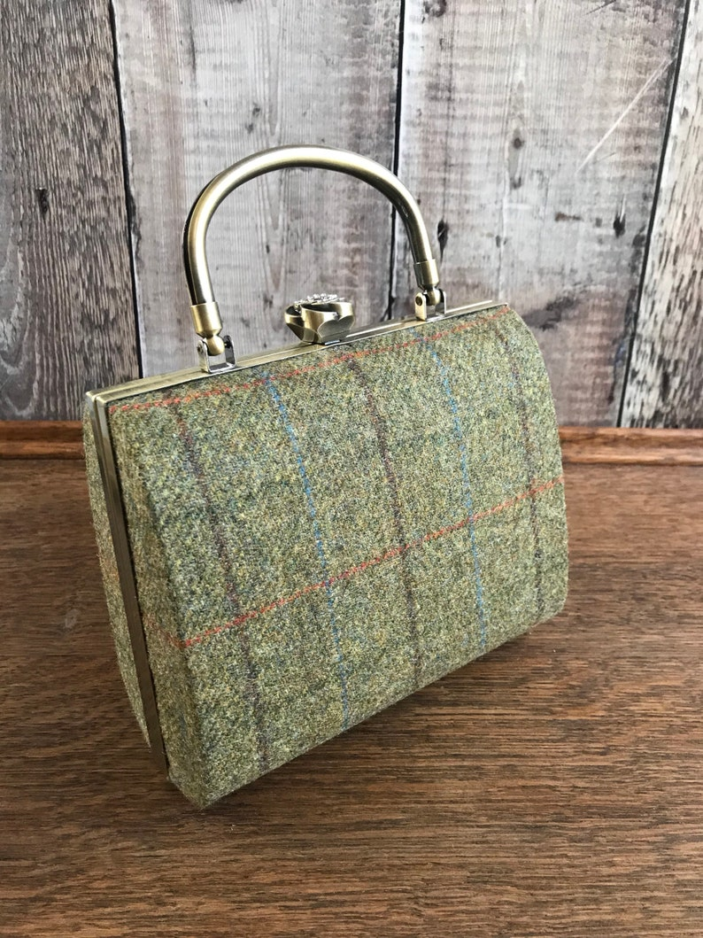 5a812dc226 Tweed Box Clutch Bag green check clutch Tweed Bag Country