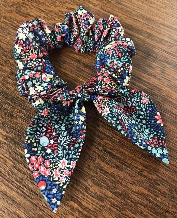 floral hair accessory Floral scrunchie Liberty Capel Liberty Print Srunchie mustard scrunchie Liberty Srunchie,
