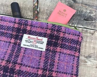 Harris Tweed pouch, tweed purse, Tweed Bag, zipped pouch, gift for mum, tweed make up bag